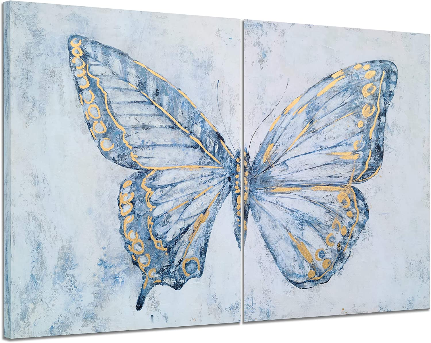 Yihui Arts Butterfly Canvas Wall Art Set Of Two Hand Painted Blue and White Paintings Modern Abstract Animal Artwork with Gold Foil for Living Room Bedroom Bathroom Nursery Decor