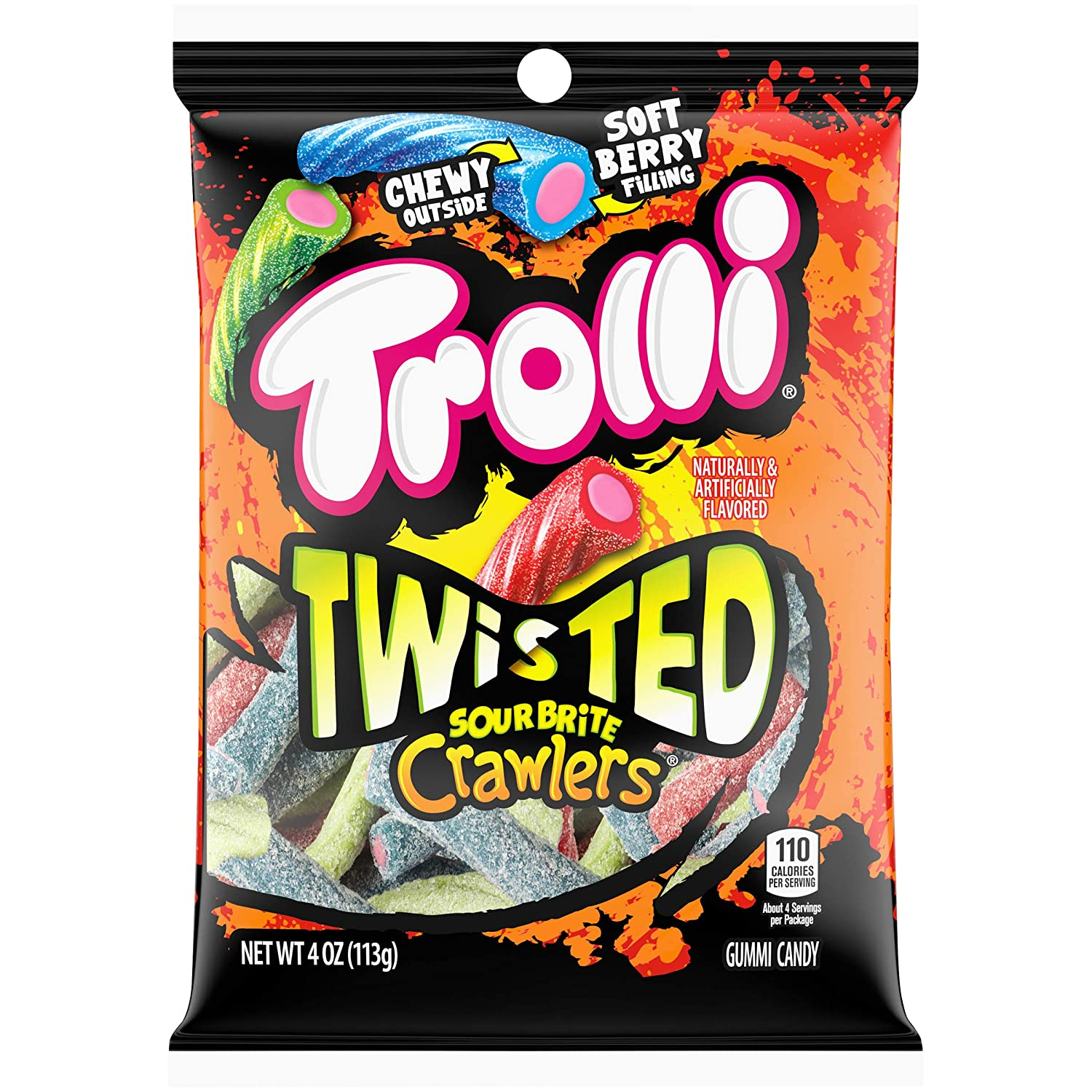 Trolli Twisted Sour Brite Crawlers Gummy Worms, 4 Ounce Peg Bag (Pack of 12) Sour Gummy Worms