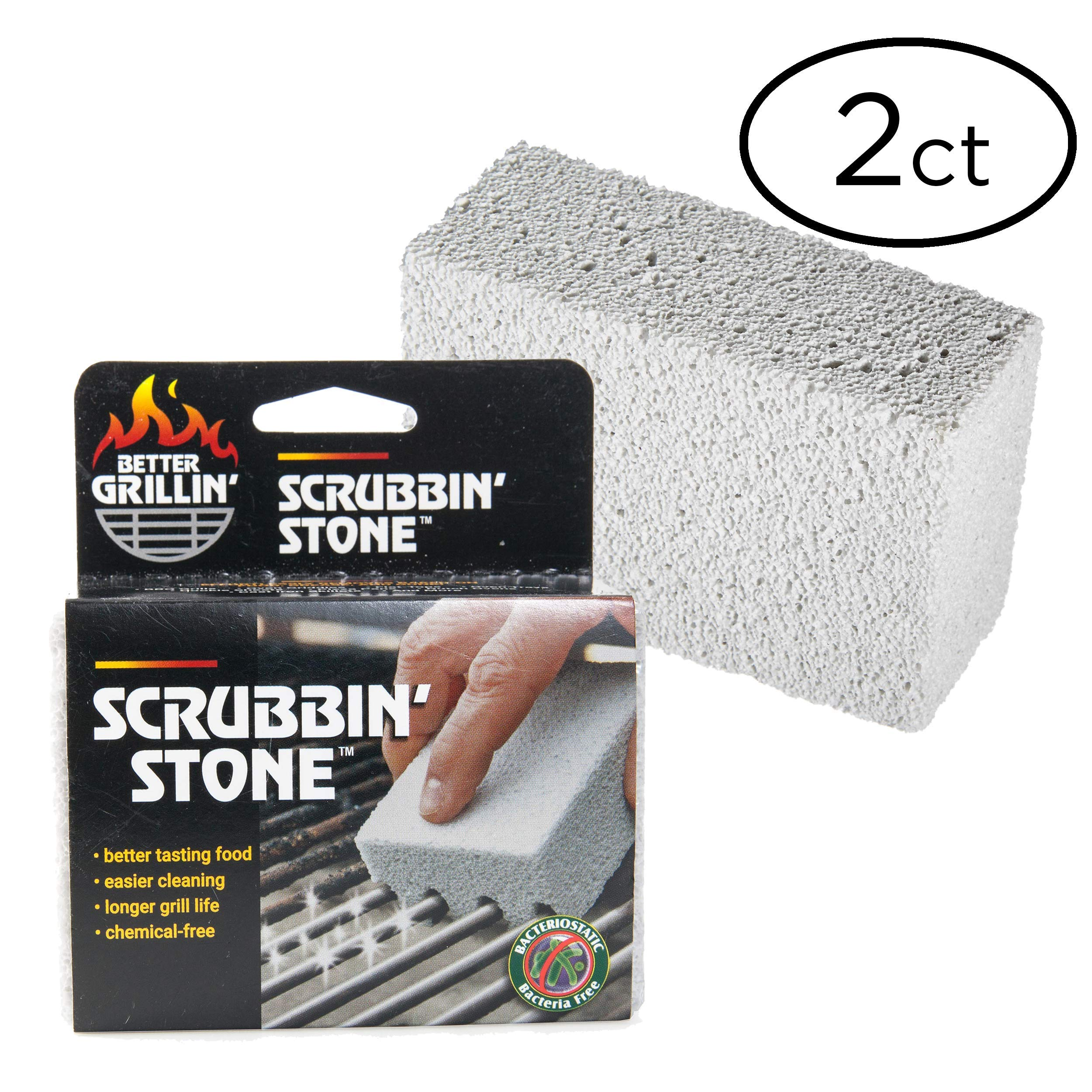 Better Grillin' Scrubbin' Stone Grill Cleaner - Scouring Brick/Barbecue Grill Brush/Barbecue Cleaner - Advanced Green Technology Easily Removes Grime and Grease from BBQ, Grills, Griddles, Racks (2)