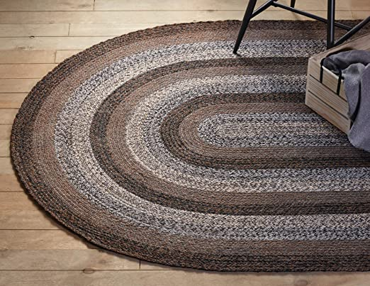 Oval Jute Rug Floors Natural  Braided  Woven Fabric Area Carpet Modern Rug
