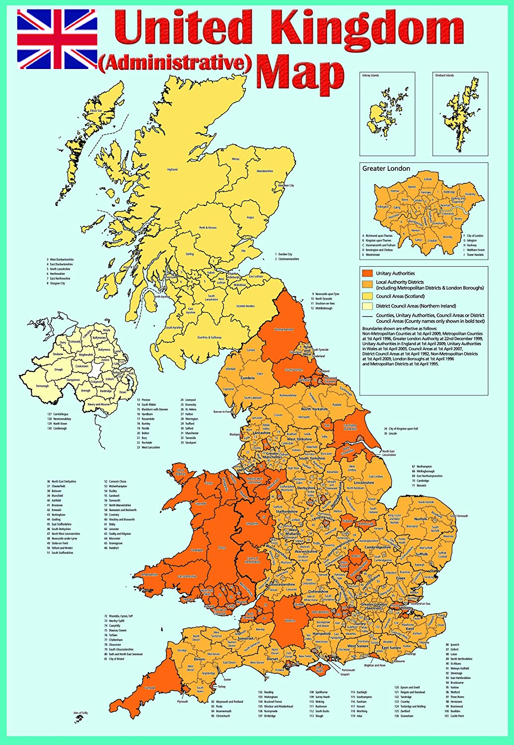 GLOSS LAMINATED UK COUNTIES MAP EDUCATIONAL POSTER WALL CHART A2 size
