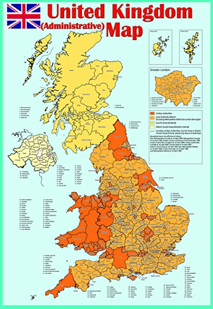 Map Of England Great Britain.Laminated United Kingdom Uk Great Britain Administrative Map Poster Educational Classroom Study Room Teaching School Type Poster Wall Chart