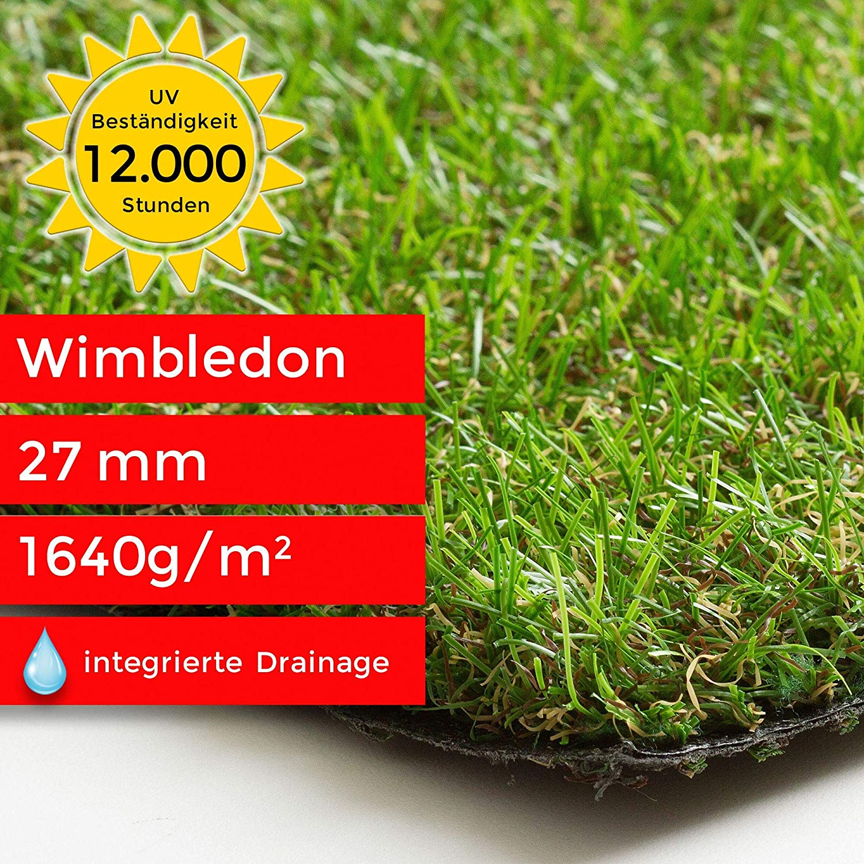 Garten Steffensmeier Kunstrasen Rasenteppich Wimbledon Meterware wasserdurchl/ässig f/ür Balkon UV-Garantie in Gr/ün Terrasse Gr/ö/ße: 133x800 cm