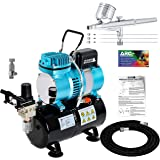 Master Airbrush Cool Runner II Dual Fan Air Tank Compressor System Kit with a Pro Set G222 Gravity Airbrush Kit with 3…