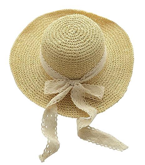 7dbcd10059c Urban CoCo Women s Wide Brim Caps Foldable Summer Beach Sun Straw Hats ( 2  Beige