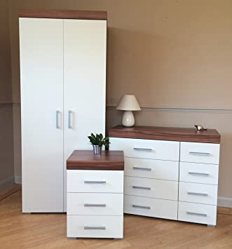Awe Inspiring Drp Trading White Walnut Bedroom Furniture Set Wardrobe 4 4 Drawer Chest 3 Draw Bedside Table Download Free Architecture Designs Rallybritishbridgeorg