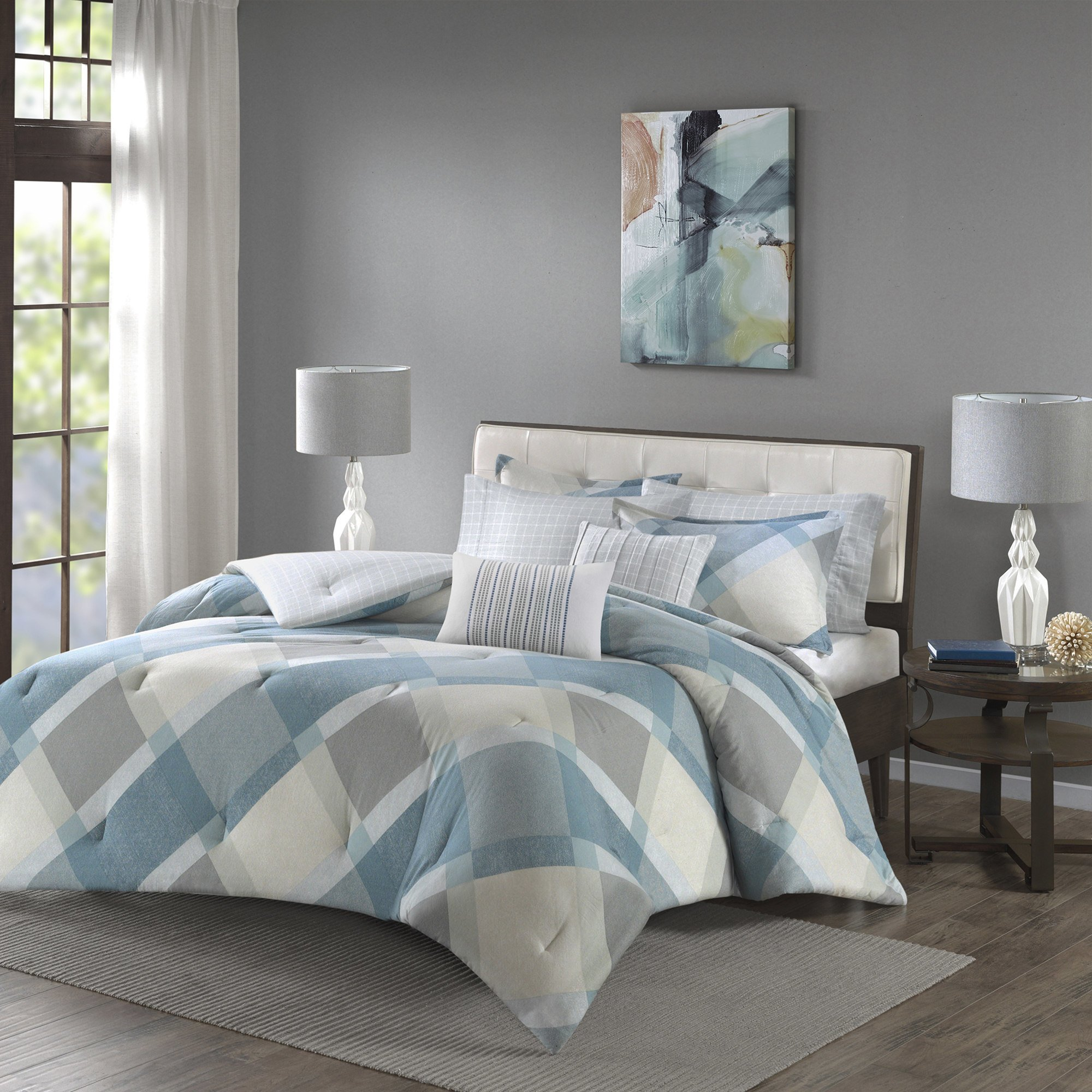 7 Piece Dusty Blue Grey Off White Checkered Diamond Plaid Themed Flannel Duvet Cover Full Queen Set, Beautiful Geometric Checker Bedding, Chic Reverse Windowpane Theme Pattern, Cotton