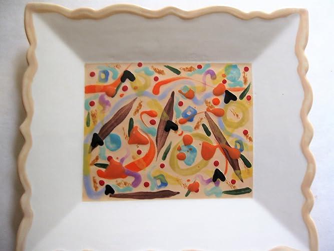 amazon com usa hand painted set of 6 picaso move over ceramic salad