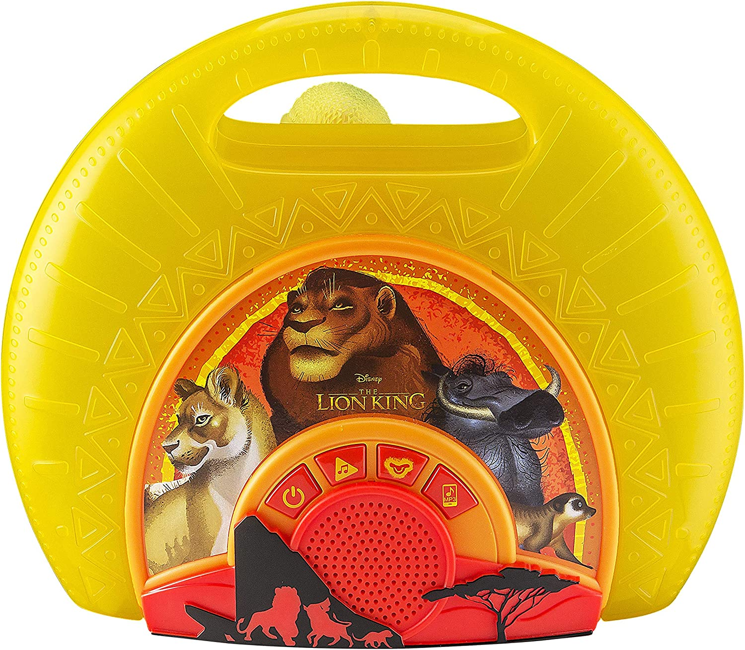 Lion King Sing Along Boombox with Microphone Built in Music Flashing Lights Real Working Mic Connects to MP3 Player Storage Compartment in Back for Audio Device