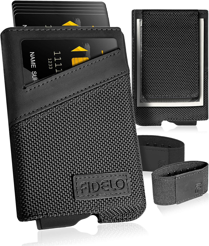 FIDELO Minimalist Wallet for Men - Slim Credit Card Holder RFID Mens Wallets with Magnetic Money Clip Removable Black Leather Case