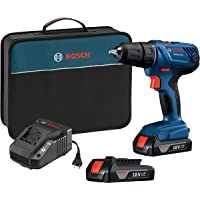 """Bosch 18V Compact 1/2"""" Drill/Driver Kit with 1.5 Ah Slim Pack Batteries"""