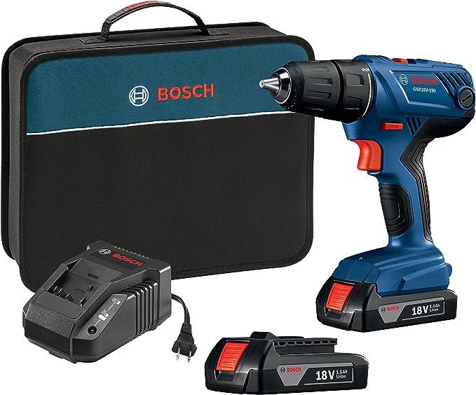 Bosch GSR18V-190B22 18V Kit de taladro/destornillador compacto de 1/2 pulgada con (2) baterías de 1.5 Ah Slim Pack: Amazon.es: Bricolaje y herramientas
