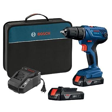 Bosch 18V Compact 1/2  Drill/Driver Kit with (2) 1.5 Ah Slim Pack Batteries GSR18V-190B22