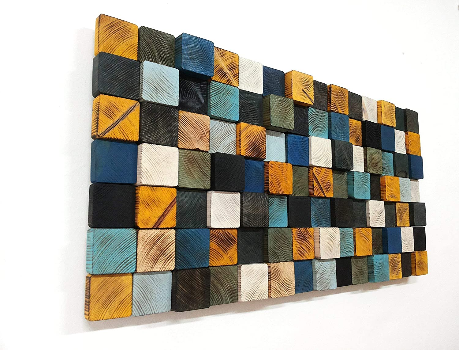 Amazon Com Colorful Wall Art Reclaimed Wooden Wall Decor Wooden Mosaic Futuristic Decor Abstract Wall Art Wooden Wall Art Gift For Family Handmade