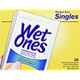 Wet Ones Antibacterial Citrus Scented Hand and Face Wet Wipes, 28 Individually Wrapped Wipes