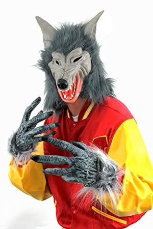 wolf set mask gloves halloween fancy dress accessory costume set grey werewolf mask faux - Halloween Werewolf