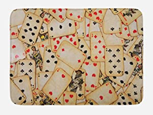 Ambesonne Casino Bath Mat, Old Playing Cards Themed Vintage Classic Style Entertaining Wealth Fortune, Plush Bathroom Decor Mat with Non Slip Backing, 29.5 W X 17.5 L Inches, Beige Red Black