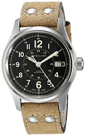 abdd53ebf Image Unavailable. Image not available for. Color: Hamilton Men's H70595593 Khaki  Field Analog Display Swiss Automatic ...