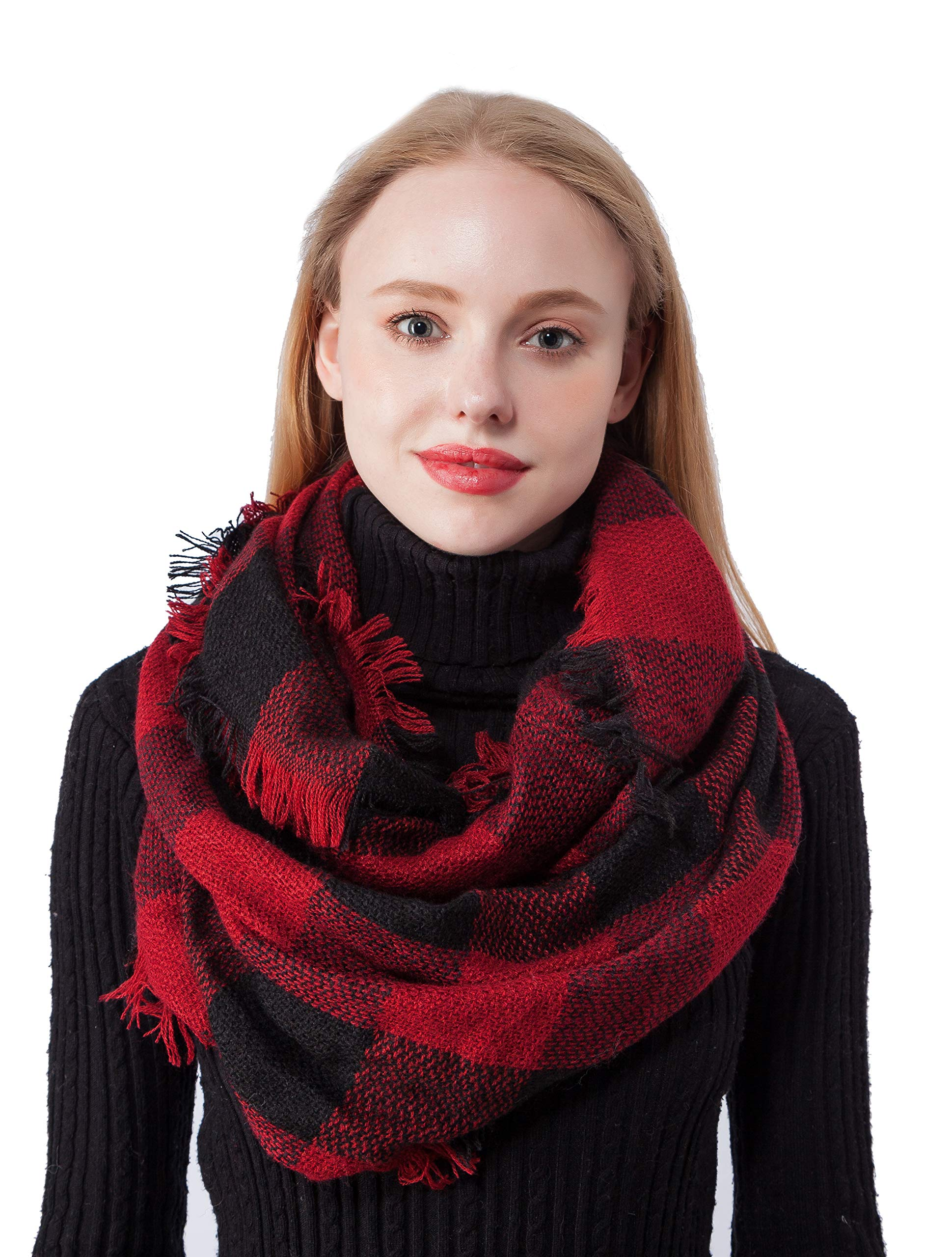 Plaid Infinity Circle Scarf for Women Lightweight Winter Warm Knitting Scarves (Knitting Black+Red)