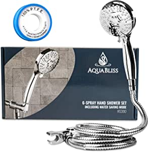 AquaBliss TheraSpa Hand Shower – 6 Mode Massage Shower Head with Hose High Pressure to Gentle Water Saving Mode - 6.5 FT No-Tangle Handheld Shower Head with Extra Long Hose & Adj. Mount   Chrome