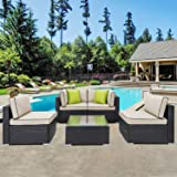Shintenchi Outdoor Patio Furniture 5 Pieces Sets, All Weather PE Wicker Rattan Patio Conversation Sofa Set Tea Table&Washable