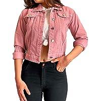 Shocknshop Full Sleeves Comfort Fit Regular Pink Denim Turn-Down Jacket for Women (JKT23)