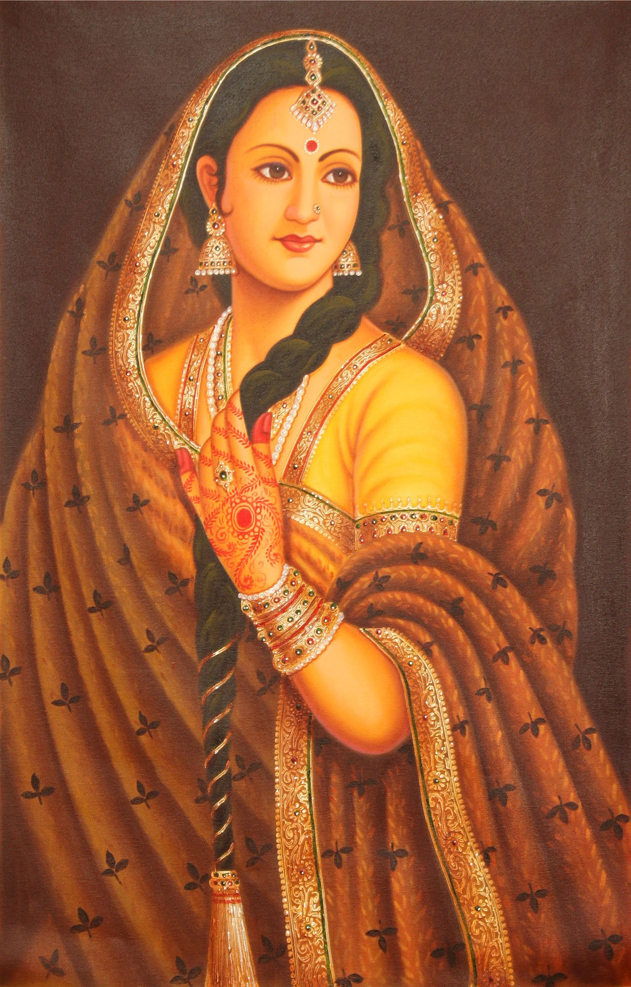 Portrait of a Lady from Rajasthan - Oil on Canvas