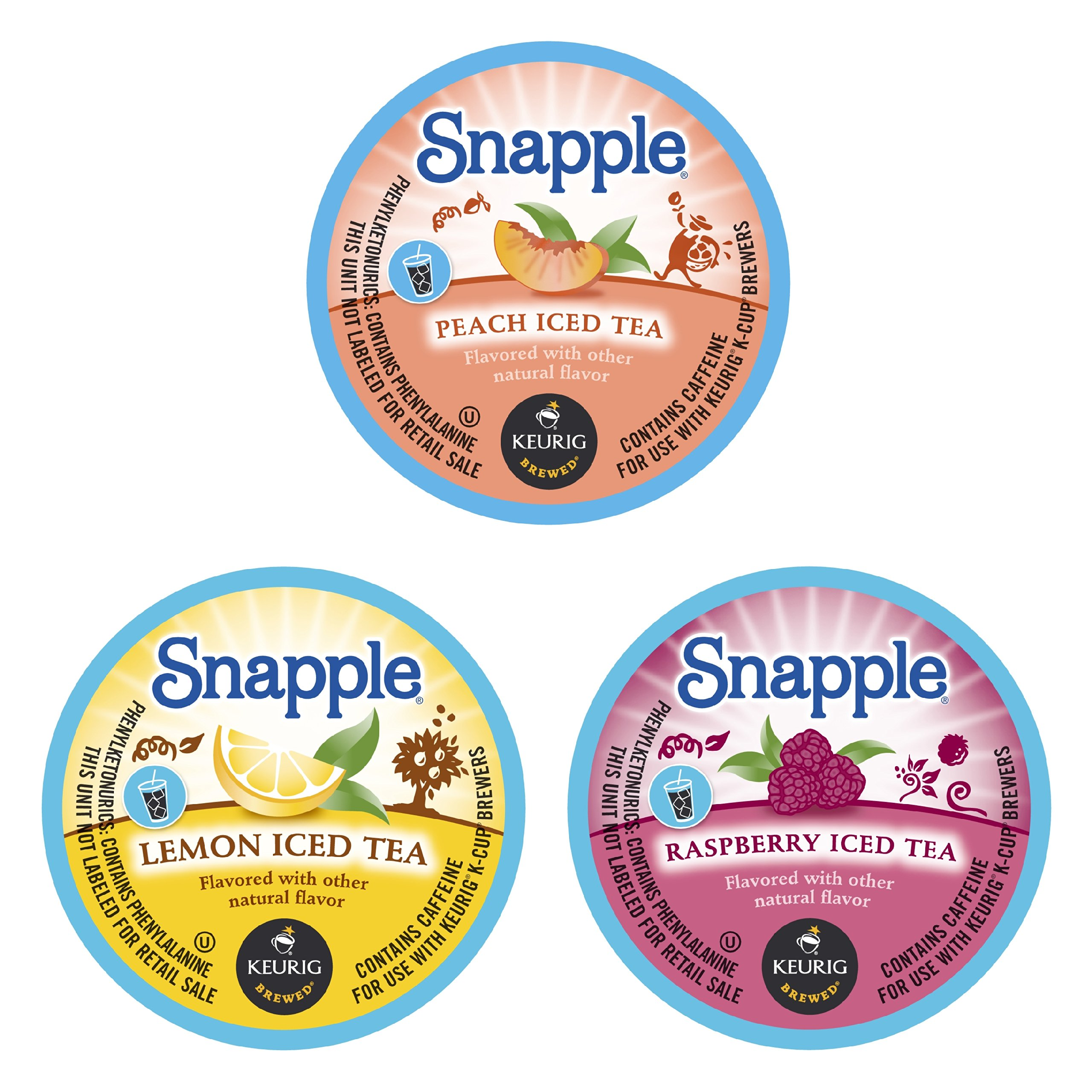 Snapple Variety Lemon, Peach, and Raspberry Iced Tea Keurig K-Cups, 44 Count by Snapple