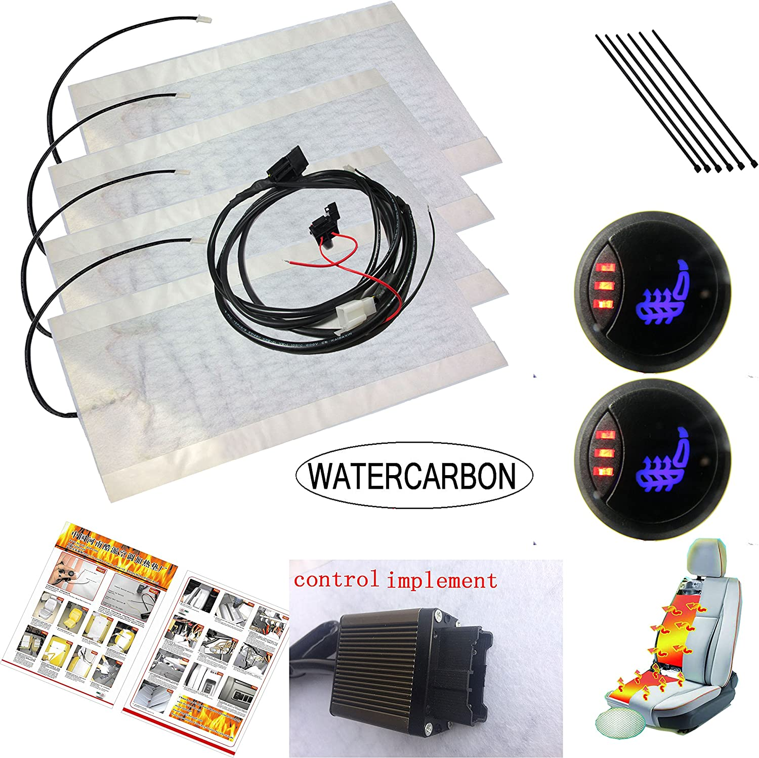 WATERCARBON Carbon Fiber Seat Heater Kit LED1 Side 3 Point Circular 3 Gear Switch Set Car Auto Heated Heating Seat Cushion Cover Heater Warmer Pad Winter 12V