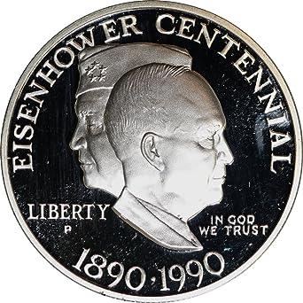 1990 Proof Dwight Eisenhower Centennial Commemorative Silver Dollar