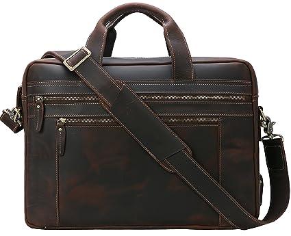 10418cb9b55f Iswee Messenger Bag for Men 17 inch Genuine Leather Briefcase Large Satchel  Shoulder Bag Computer Laptop Bag (Dark Brown)