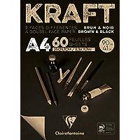 Bloco de Papel Kraft Clairefontaine Brown & Black A4 90G/M³ CLAIREFONTAINE, Craft e Preto