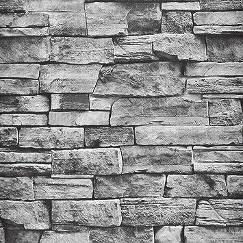 Wenmer Brick Peel And Stick Wallpaper 17 7 X197 Self Adhesive Brick Wallpaper Decorative Gray Stone Wallpaper For Kitchen Living Room Bedroom Home Decoration Amazon Com