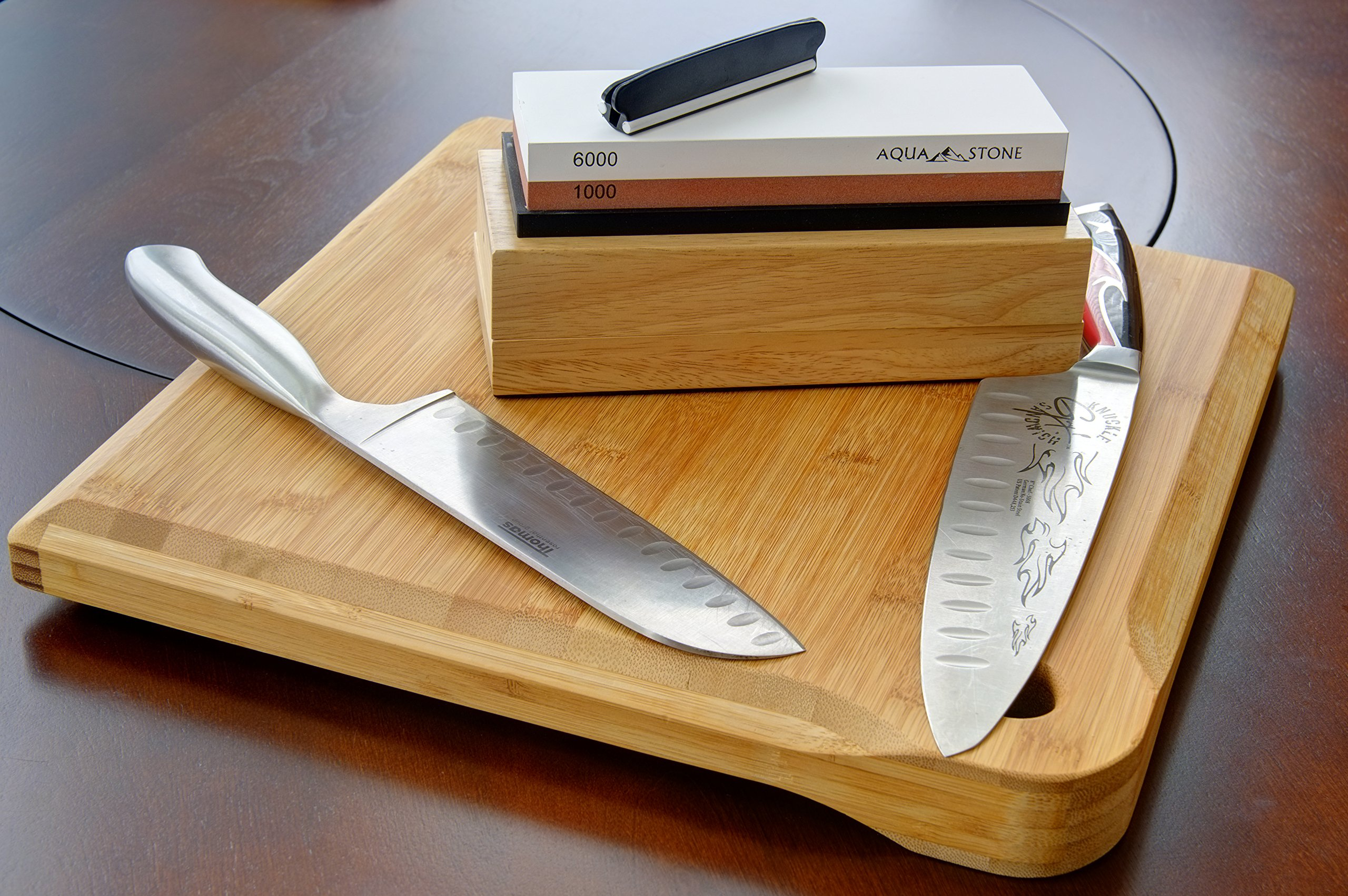 Professional Knife Sharpener 2 Side Sharpening Stone Kit For Chefs, Home Kitchen Knives.Whetstone Grit 1000/6000 Watersone,NonSlip Wood Base, FREE Angle Guide, Silicone Base with Stylish Wood GIFT Box by Aquastone (Image #6)