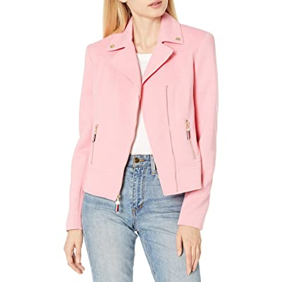 Tommy Hilfiger Women's Pique Knit Zip Front Moto Jacket. Notch Collar at Women's Clothing store