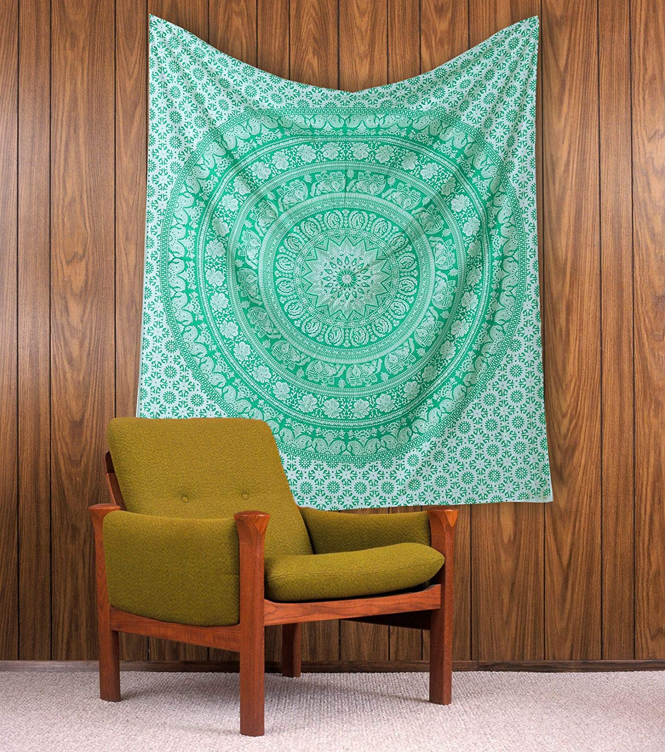Small Tapestry Wall Decor - Elephant Mandala Tapestry Cotton Wall Hanging Hippy Tapestries Hippie Beach Throw College Dorm Decor Bohemian Boho Bedsheet - Green -50x60 Inches
