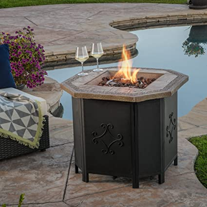 Amazoncom Great Deal Furniture Myrtle Outdoor Inch Octagonal - Octagon propane fire pit table