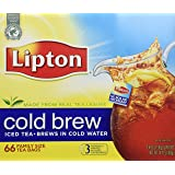 Lipton, Black Tea, Cold Brew, Family Size Tea Bags, 22-Count Boxes (Pack of 3)