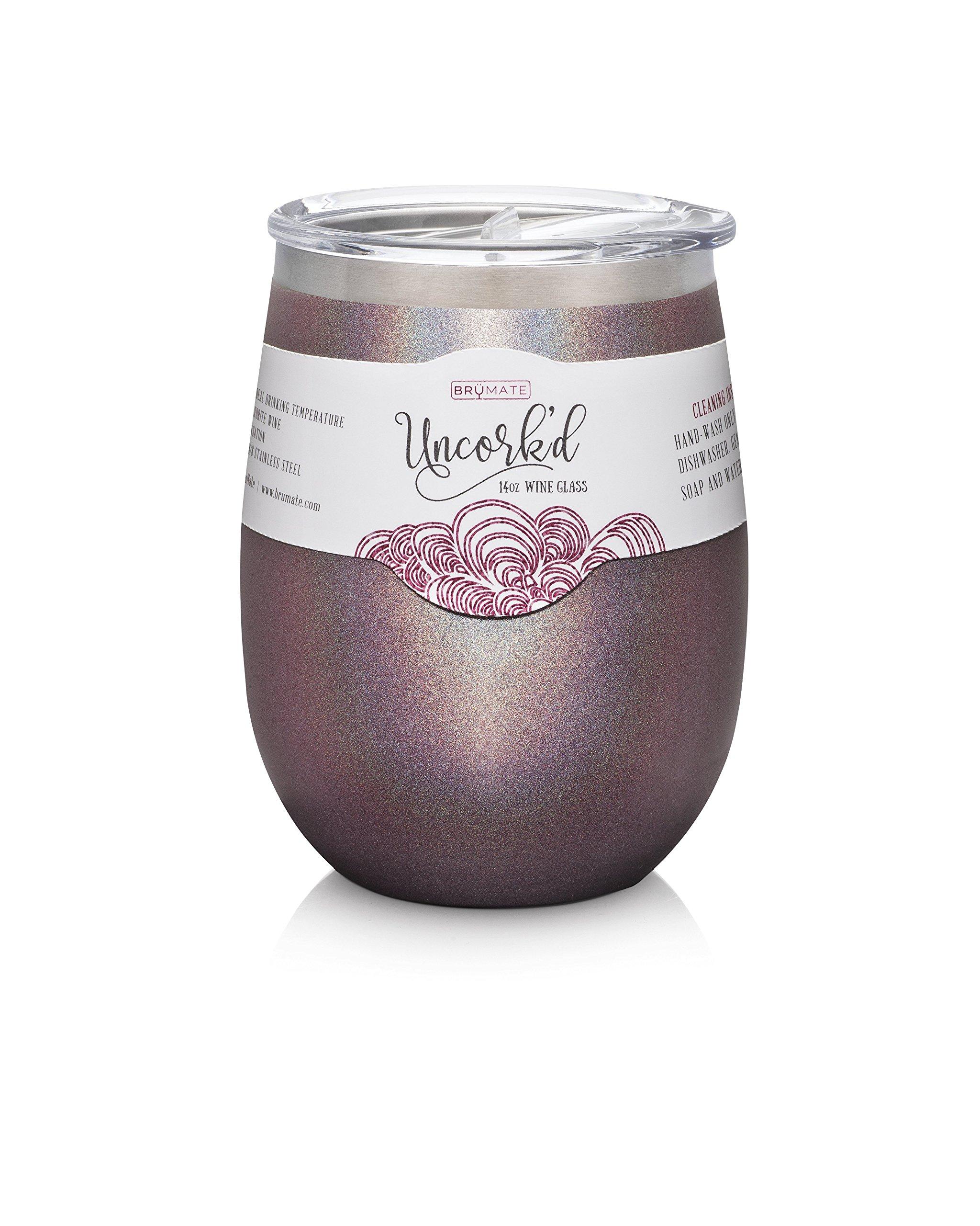 BruMate Uncork'd Insulated Stainless Steel Wine Glass 14oz (Glitter Merlot)