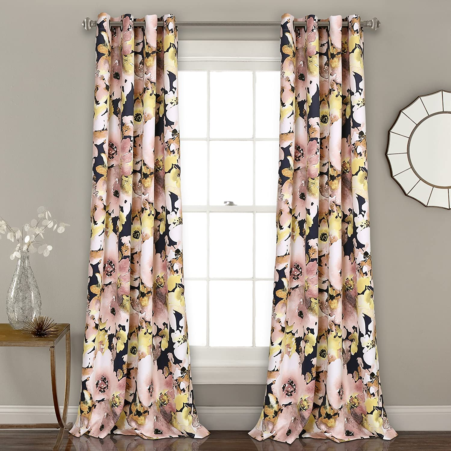 "Lush Decor 16T002398 Floral Watercolor Room Darkening Window Curtain Panel Pair, 84"" x 52"", Navy"