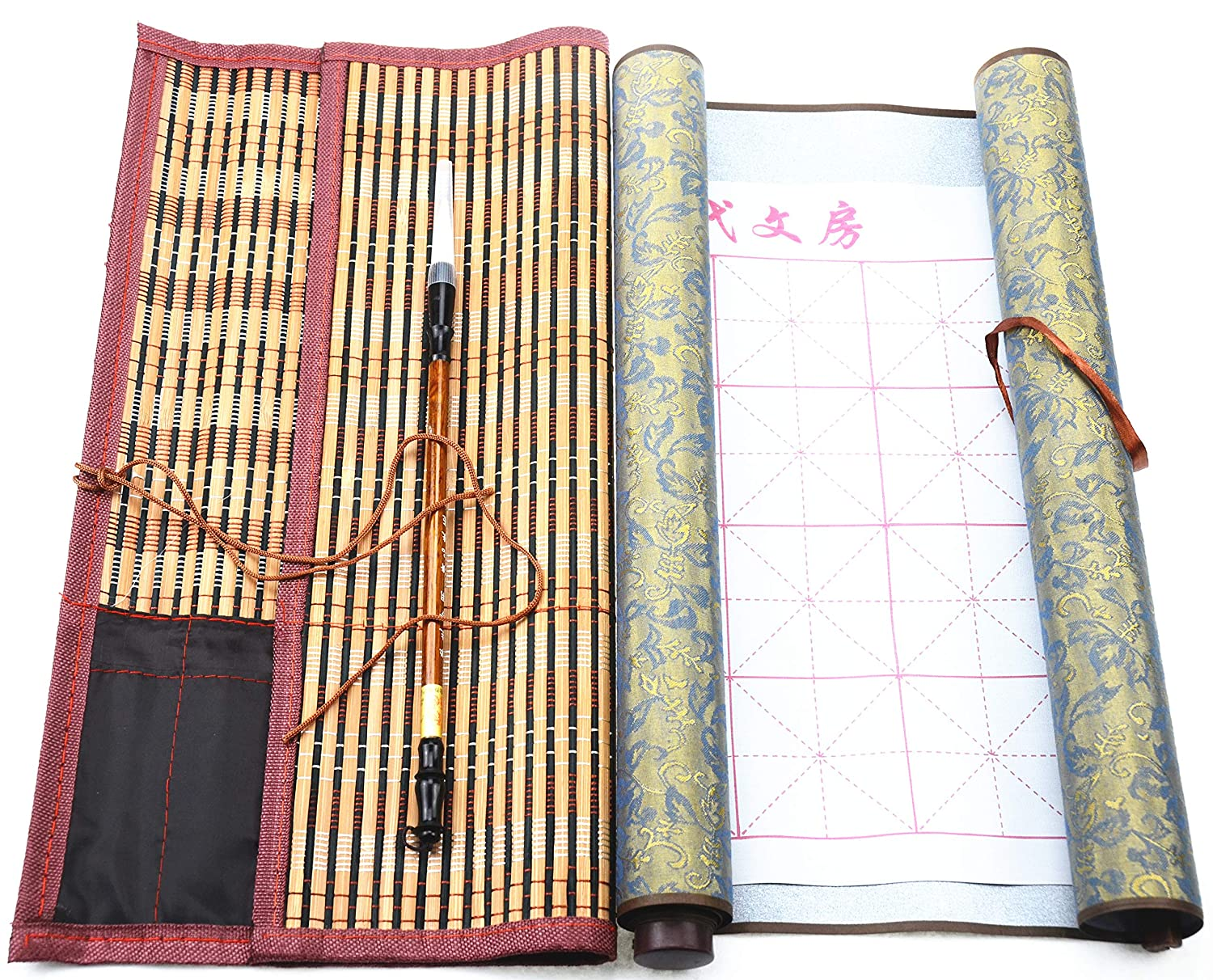 DelieKee Chinese Calligraphy Set Reusable Water Writing Magic Cloth with Drawing Brush Bamboo Wrap Rewritable for Calligraphy Beginners Practice Painting Red,Large /& Small Cloth,4 Items 2 Pcs