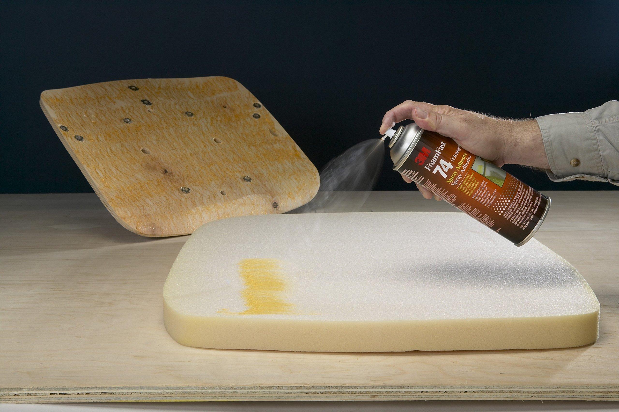 3M Foam Fast 74 Spray Adhesive - Low VOC <25% Orange, 24 fl oz can, Net Weight 19.0 oz (Pack of 1)