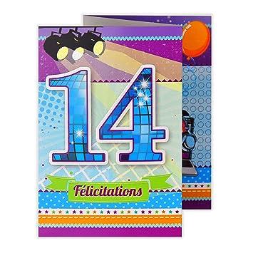 Afie 882115 Glückwunschkarte Zum Geburtstag 14 Jahre Amazonde