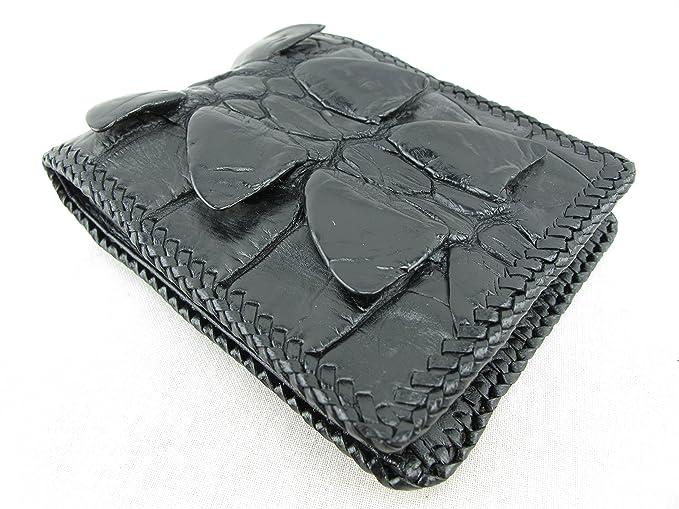 1a119493b5a2 Amazon.co.jp: PELGIO 高級なクロコダイル革の財布 黒色 縁編み: 服 ...
