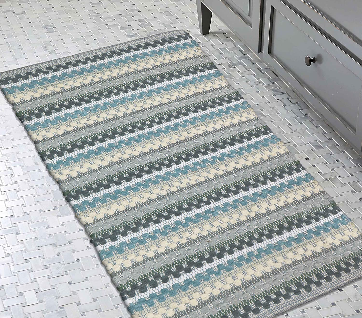 """Woven St Luxury Cotton Polyester Woven Area Rug, Anti-Skid Machine Washable Floor Mat for Entryway, Kitchen Door Mat - 27""""x45""""   Pack of 1   (Aqua)"""