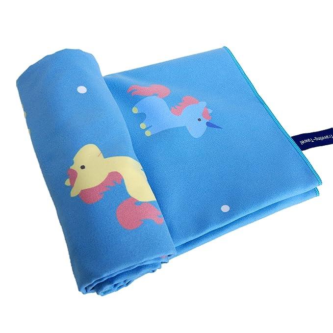 zipsoft niños toalla de playa (unicornio grande toalla de microfibra (75 x 150 cm (29,5 x 59.0inch) impreso de viaje secado rápido deportes natación baño ...