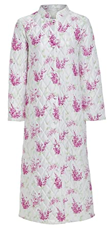 Unbranded Ladies Traditional Quilted Dressing Gown Robe Full Length  Buttoned Oriental Mandarin Collar Floral OR Plain 995d2adba