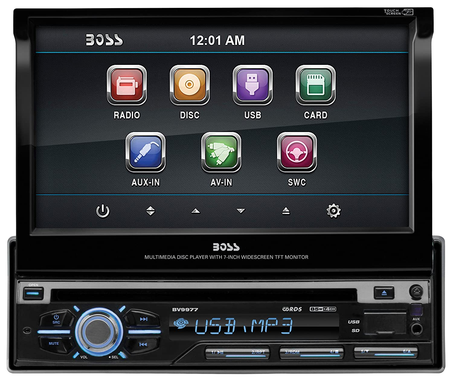 Amazon.com: BOSS AUDIO BV9977 Single-DIN 7 inch Motorized Touchscreen DVD  Player Receiver, Detachable Front Panel, Wireless Remote (Discontinued by  ...