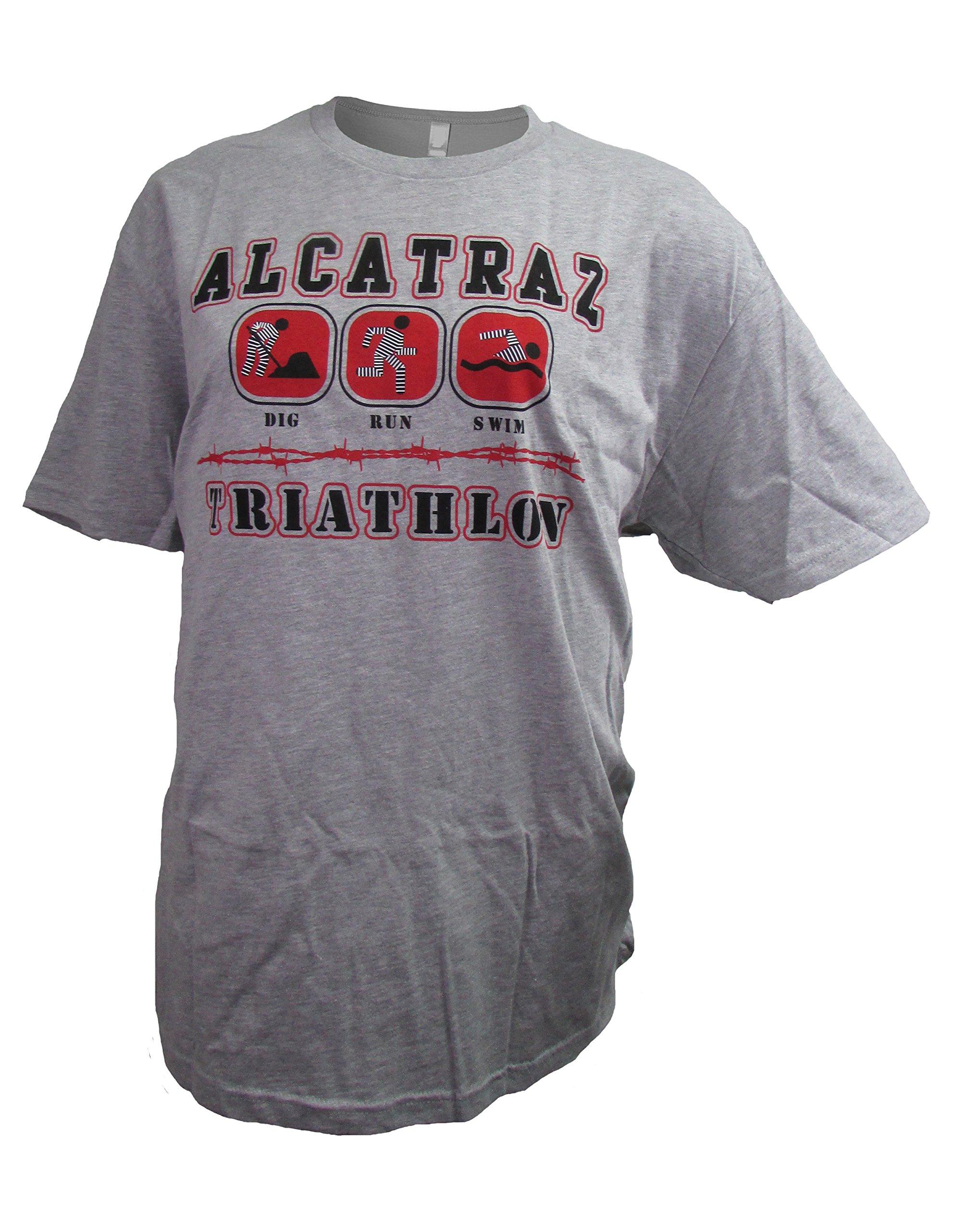 San Francisco Vintage Alcatraz Triathlon Men's Heather Gray Crew Neck T-Shirt (Medium)