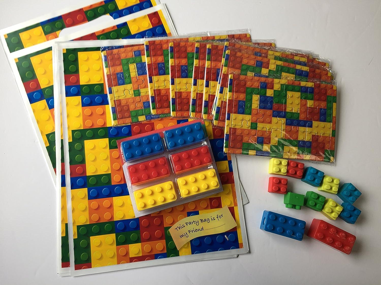 Brick  party bag filler 18 x Novelty Pencil sharpener /& 18 x Eraser